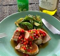 Baked Pork Loin with Thai Sweet & Sour Sauce烤猪柳
