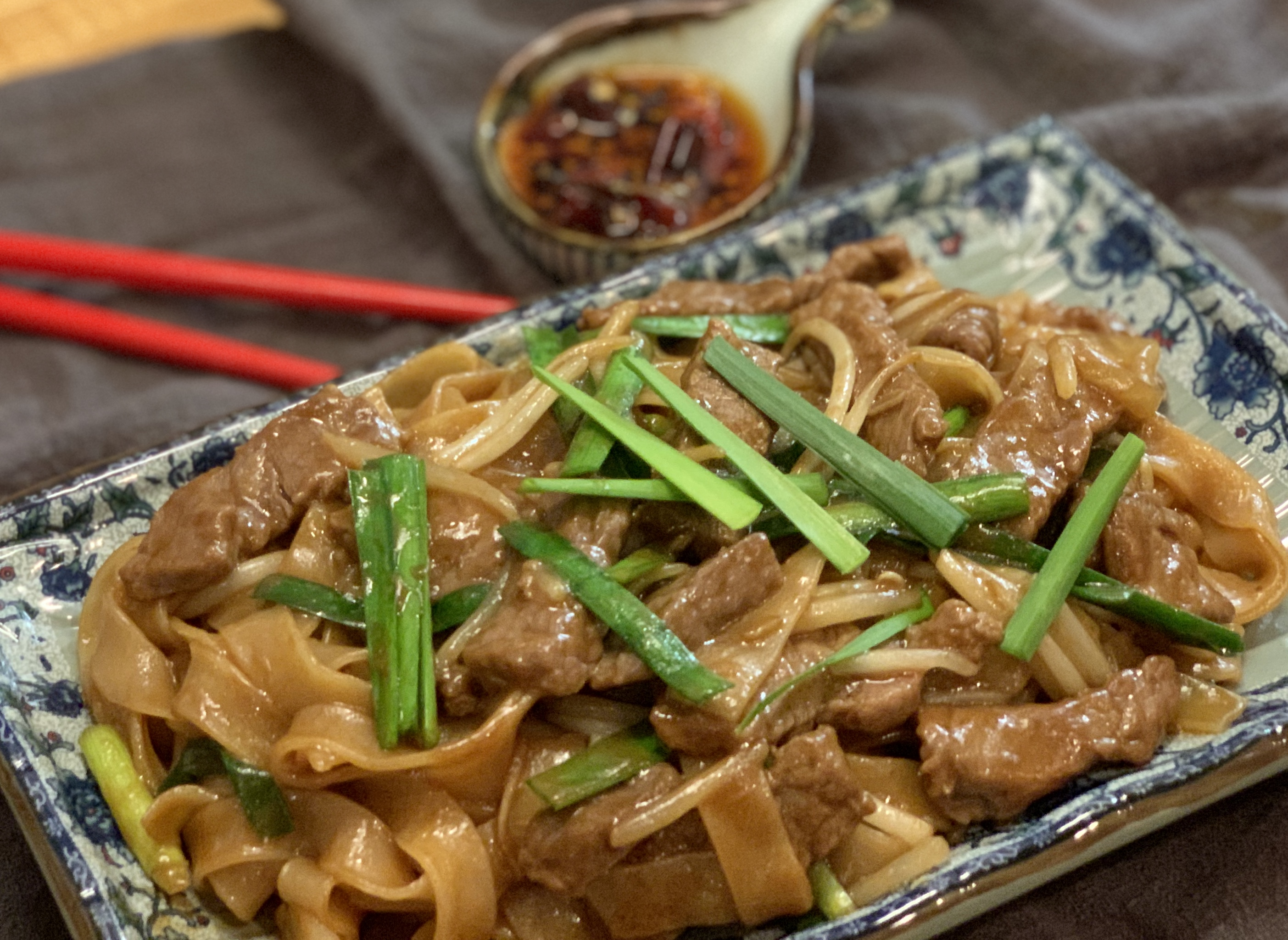 Beef Chow Fun干炒牛河gàn chǎo niú hé