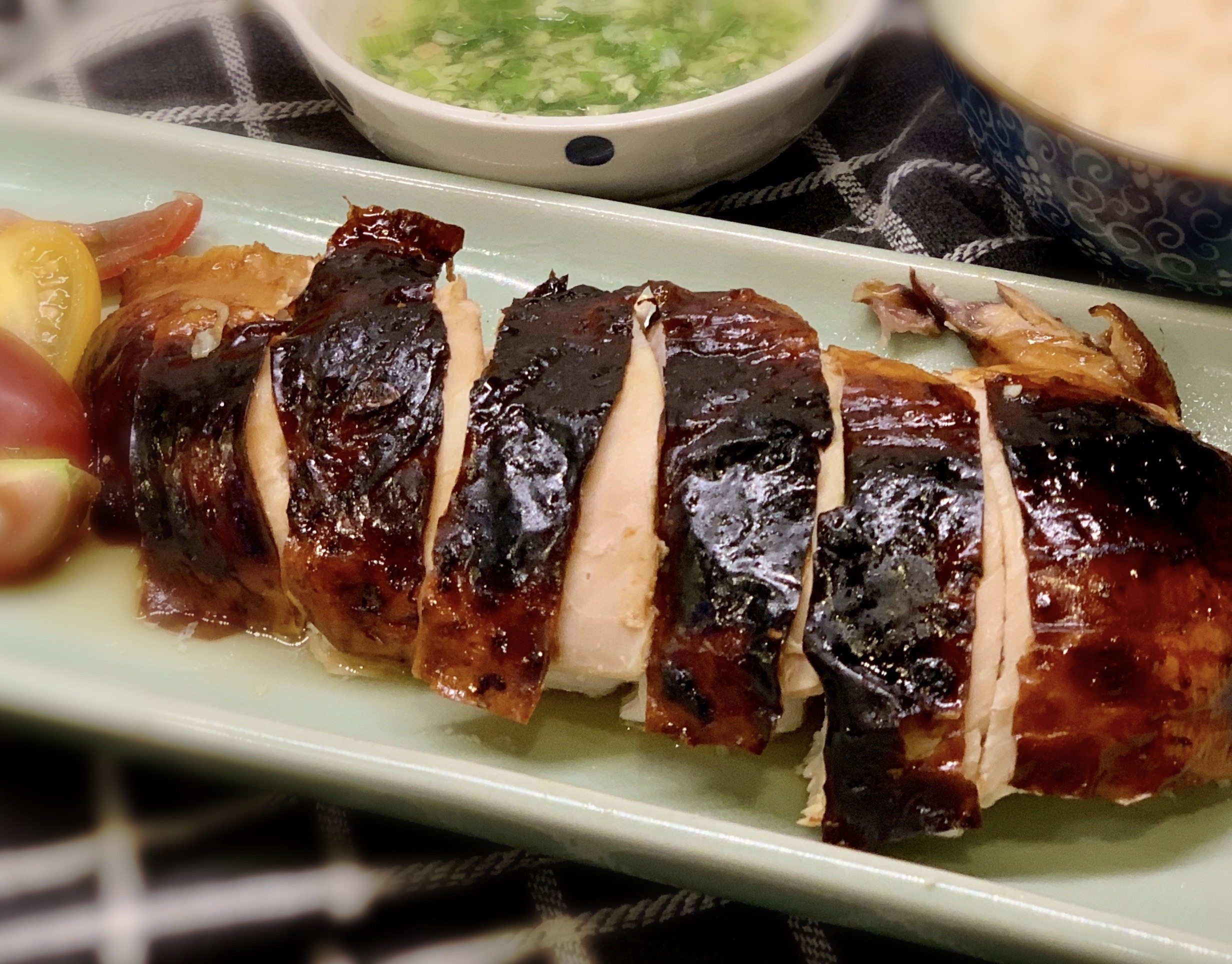 Roasted Soy Chicken with Spring Onion and Ginger Sauce酱油烤鸡jiàng yóu kǎo jī