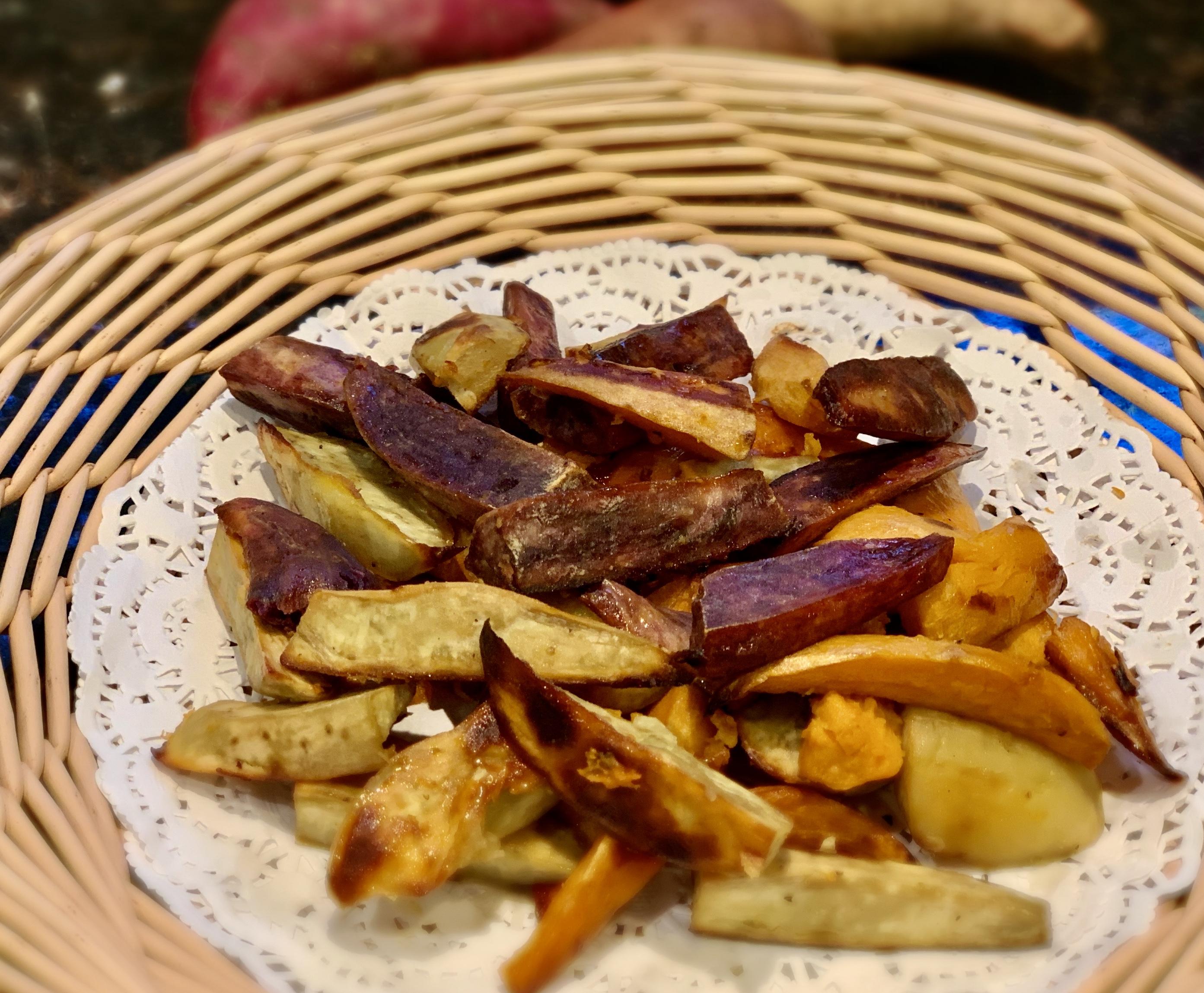 Roasted Sweet Potato with Orange, Honey and Chili 橙汁蜂蜜烤薯条chéng zhī fēng mì kǎo shǔ tiáo